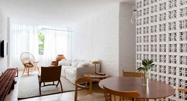 Architektura wnętrz brazylijskiego mieszkania. Salon