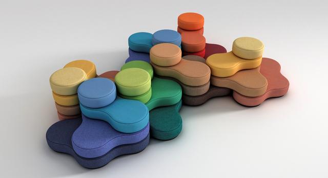 Modułowe pufy Tapa. Nieformalna aranżacja wnętrza biurowego