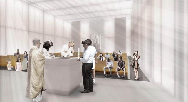 Wnętrze kościoła w Nowych Żernikach, II nagroda w konkursie architektonicznym