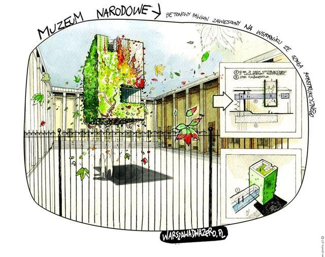 Warszawa 2.0 - MUZEUM NARODOWE,  betonowy pawilon zawieszony na wsporniku ze szkła