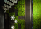 Zielona ściana w salonie. Płytki ścienne tworzące wertykalny ogród