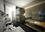 Czarno-białe małe mieszkanie dla singla
