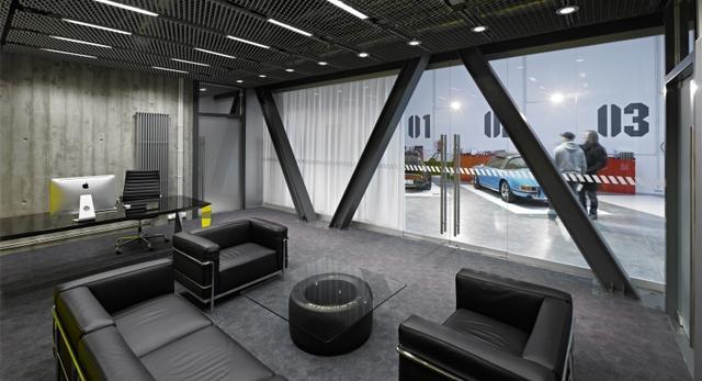 Wnętrza biur. Biuro garaż