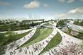 W miasteczku olimpijskim zaprojektowano liczne przestrzenie zielone i alejki spacerowe