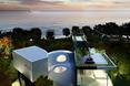 Widok z lotu ptaka na dom jednorodzinny Cocon House na wyspie Jeju w Korei Południowej