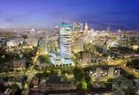 Wieża Warsaw Spire w blasku nocy