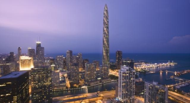 Chicago Spire wybija się ponad przeciętną architekturę miasta