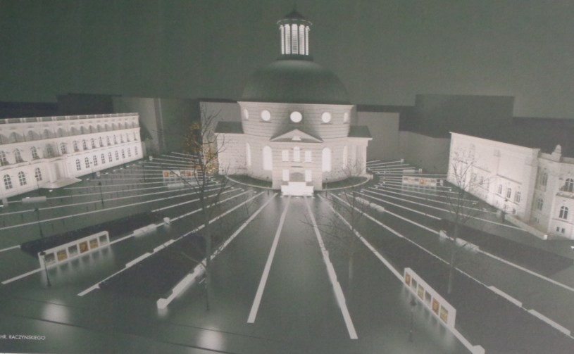 Bryła świątyni św. Trójcy w Warszawie. Słoneczko?